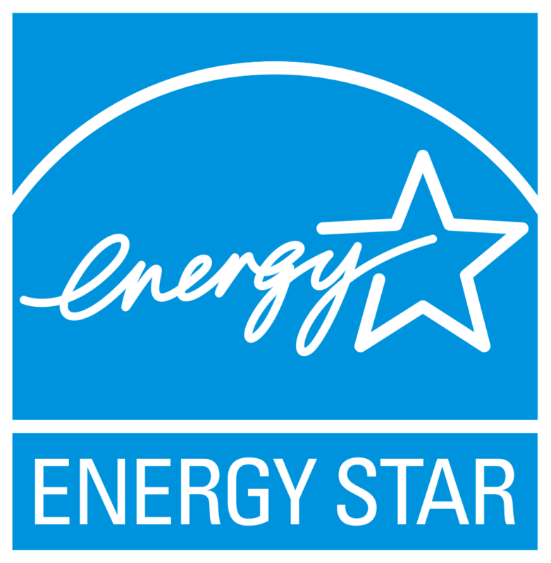 Official Energy Star Logo - Blue square background, white lettering, cursive 'energy' with star image above the words ENERGY STAR in caps.