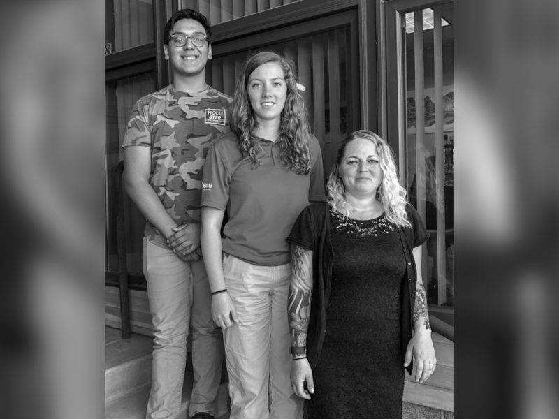 Gorge Works interns Andy Alvarez, Hannah Kempf and Kaleena Rodda