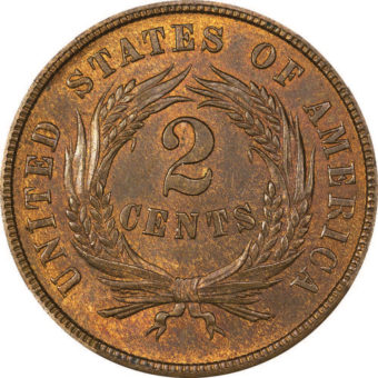 An 1865 two-cent coin