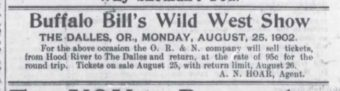 The Hood River Glacier advertised Buffalo Bill's show.