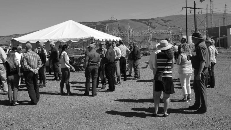 Community members gather at the Columbia Gorge Industrial Center