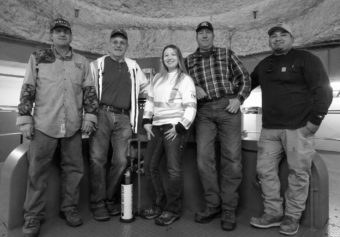 The Dalles Dam crew, from left, are Nicholas Atchley, Bob McBain, Cherish Southard, Derrick Mauritson and Nathaniel Brunoe.