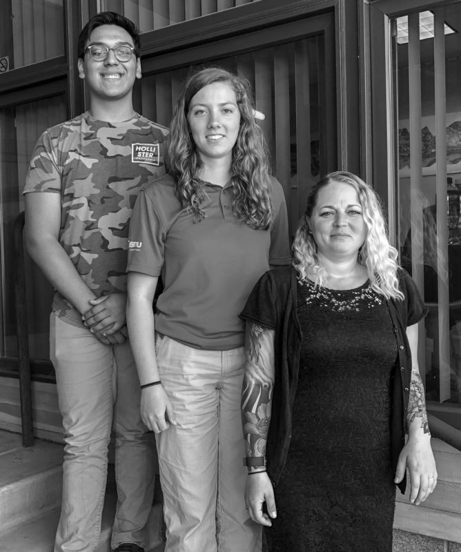 Gorge Works interns Andy Alvarez, Hannah Kempf and Kaleena Rodda