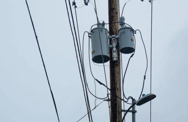 Transformer on a power pole.