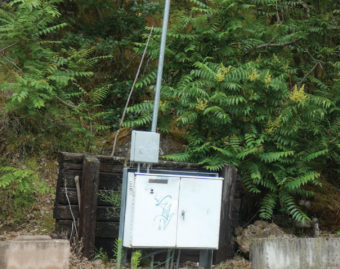 A grid router with an antenna on the side of a road.