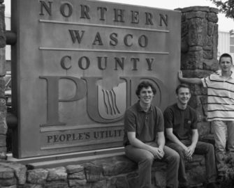 Charlie Mallon, Adrian Williams and Christian Cunningham are summer interns at Northern Wasco County PUD.