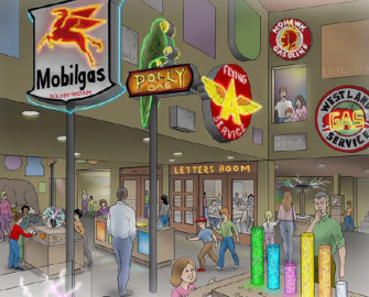 A rendering of the National Neon Sign Museum's lower level depicts an early vision of the education center, which will provide space for classes and learning opportunities for children and adults. Rendering provided by the National Neon Sign Museum