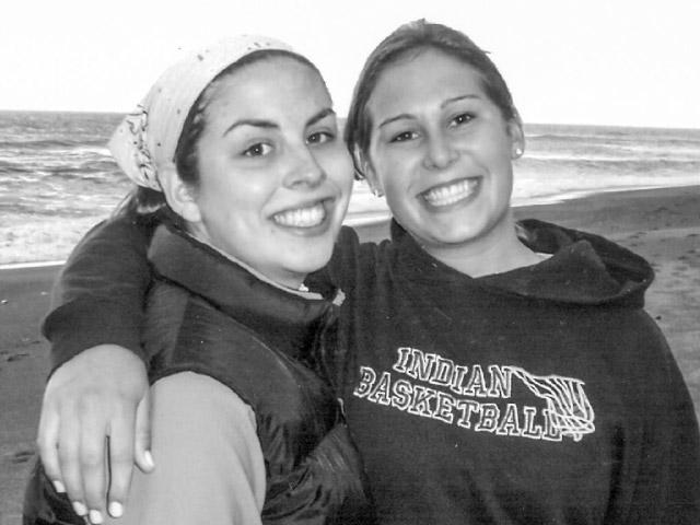 Melissa, left, and Katie pose together during their last trip to the Oregon Coast.